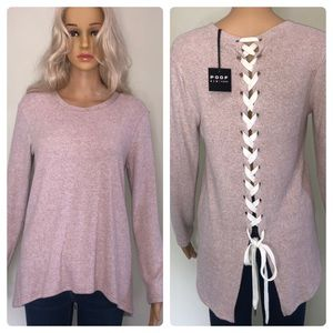 Poof! Sweaters - 🦋 4/$25 Powder pink lace up back sweater